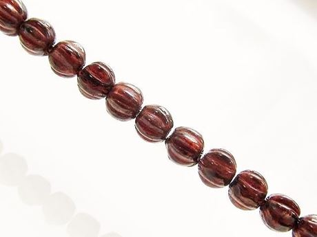 Picture of 4x4 mm, round melon, Czech druk beads, smoke topaz brown, transparent, red picasso
