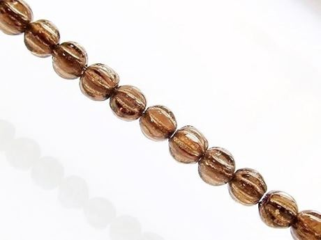 Picture of 4x4 mm, round melon, Czech druk beads, smoke topaz brown, transparent, golden inlay