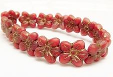 Picture of 14x13 mm, pressed Czech beads, cherry blossom flower, naphthol red, matte, old gold patina