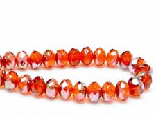 Picture of 6x8 mm, Czech faceted rondelle beads, hyacinth yellow orange, transparent, gunmetal luster