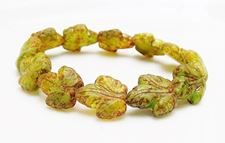 Picture of 16x14 mm, Czech druk beads, maple leaf, variegated moss green, matte, picasso finishing, 6 pieces