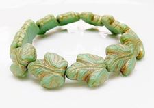 Picture of 16x14 mm, Czech druk beads, maple leaf, green-blue, matte, bronze patine, 6 pieces