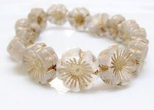 Picture of 14x14 mm, Czech druk beads, Hawaiian flower, floral white, matte, bronze patina