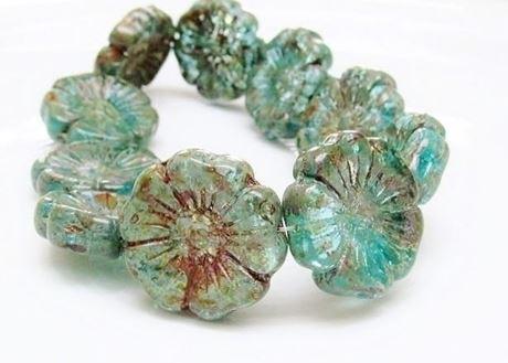 Image de 22x22 mm, perles de verre pressé tchèque, fleur hawaïenne, bleu turquoise, lustré, picasso