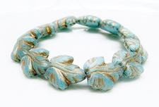 Picture of 16x14 mm, Czech druk beads, maple leaf, variegated sky blue, matte, bronze patina, 6 pieces