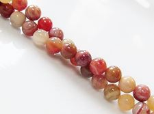 Picture of 6x6 mm, round, gemstone beads, petrified wood, red, natural