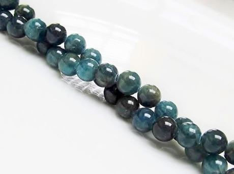 Image de 6x6 mm, perles rondes, pierres gemmes, apatite, vert-bleu, naturelle, qualité A