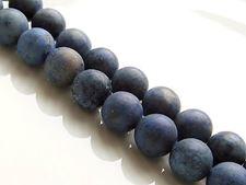 Image de 8x8 mm, perles rondes, pierres gemmes, dumortiérite, naturelle, qualité A, dépolie