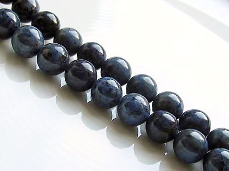 Picture of 8x8 mm, round, gemstone beads, Dumortierite, natural