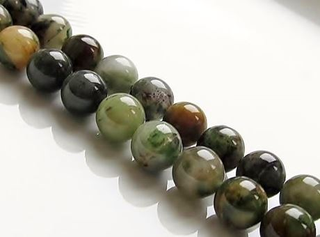 Picture of 8x8 mm, round, gemstone beads, Chinese jade, green, natural