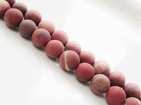 Picture of 8x8 mm, round, gemstone beads, red jasper, natural, frosted