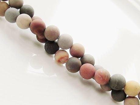 Image de 6x6 mm, perles rondes, pierres gemmes, jaspe scénique américain, naturel, dépoli