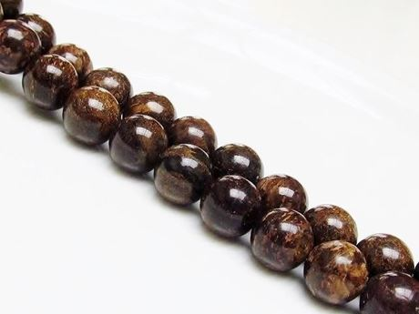 Picture of 10x10 mm, round, gemstone beads, bronzite, natural