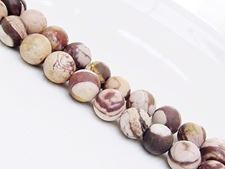 Picture of 10x10 mm, round, gemstone beads, Zebra jasper, brown, natural, frosted
