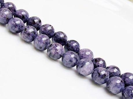 Image de 10x10 mm, perles rondes, pierres gemmes, jaspe tacheté, bleu indigo
