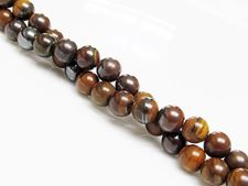 Picture of 6x6 mm, round, gemstone beads, tiger iron jasper, natural