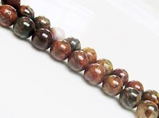 Picture of 8x8 mm, round, gemstone beads, common opal, green and brown, natural