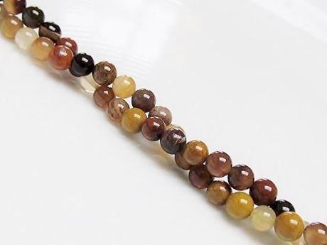 Image de 4x4 mm, perles rondes, pierres gemmes, bois pétrifié, naturel, Brésil