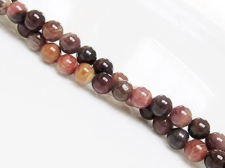 Picture of 6x6 mm, round, gemstone beads, petrified wood, pink, natural, China