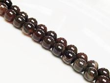 Picture of 8x8 mm, round, gemstone beads, bistre-brown petrified wood, natural
