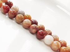Picture of 8x8 mm, round, gemstone beads, petrified wood, red, natural