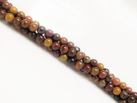 Afbeelding van 3x3 mm, rond, edelsteen kralen, versteend regenboog hout, natuurlijk