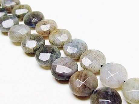 Picture of 10 mm, coin-shaped, gemstone beads, labradorite, natural, faceted
