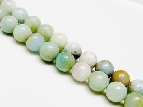 Picture of 10x10 mm, round, gemstone beads, multicolored amazonite, natural, A-grade