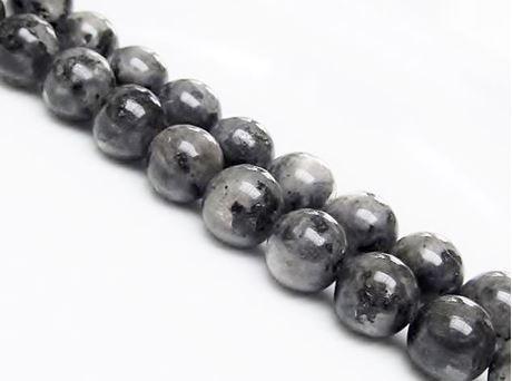 Image de 12x12 mm, perles rondes, pierres gemmes, larvikite, naturelle