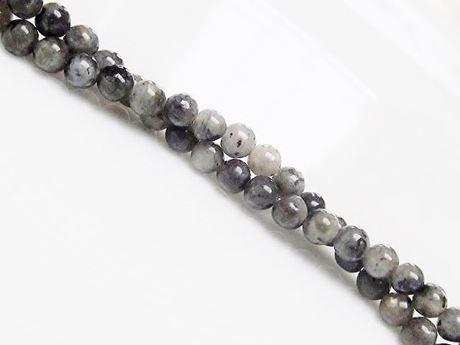Image de 4x4 mm, perles rondes, pierres gemmes, larvikite, naturelle