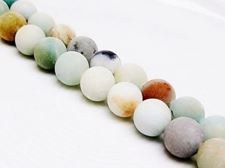 Picture of 8x8 mm, round, gemstone beads, multicolored amazonite, natural, frosted