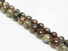 Image de 8x8 mm, perles rondes, pierres gemmes, labradorite, brun vert, naturelle