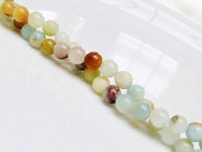 Picture of 6x6 mm, round, gemstone beads, multicolored amazonite, natural