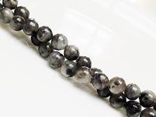 Image de 6x6 mm, perles rondes, pierres gemmes, larvikite, naturelle