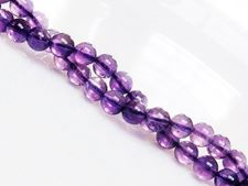 Picture of 6x6 mm, round, gemstone beads, amethyst, light purple, natural, A-grade