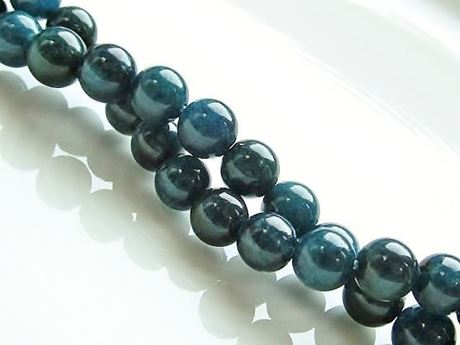Picture of 6x6 mm, round, gemstone beads, deep green-blue apatite, natural