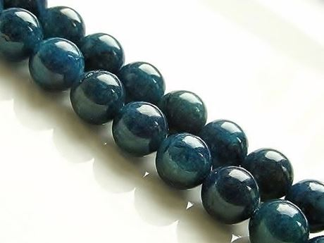Picture of 8x8 mm, round, gemstone beads, apatite, deep green-blue, natural