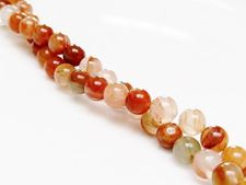 Picture of 6x6 mm, round, gemstone beads, aventurine, peach-orange red, natural