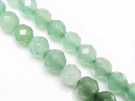 Picture of 6x6 mm, round, gemstone beads, aventurine, green, natural, faceted