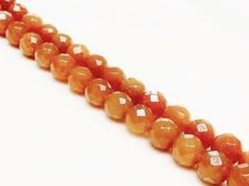 Picture of 10x10 mm, round, gemstone beads, aventurine, peach-orange red, natural, faceted