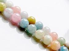Afbeelding van 8x8 mm, ronde, edelsteen kralen, morganiet of roze beril, natuurlijk