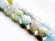 Afbeelding van 8x8 mm, rond, edelsteen kralen, meerkleurig aquamarijn, natuurlijk