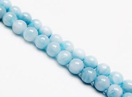 Image de 6x6 mm, perles rondes, pierres gemmes, aigue-marine, naturelle, qualité A