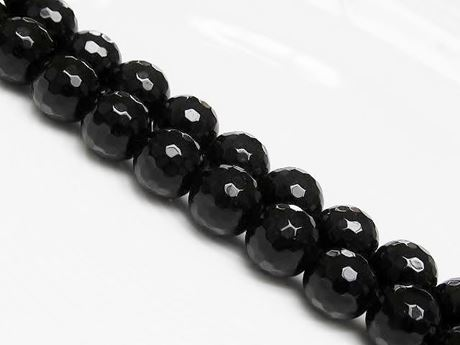 Picture of 10x10 mm, round, gemstone beads, Blackstone, faceted