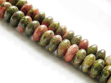 Picture of 4x8 mm, saucer, gemstone beads, unakite, natural