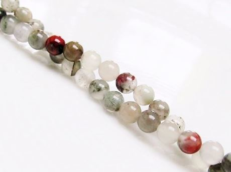 Picture of 4x4 mm, round, gemstone beads, African bloodstone, natural