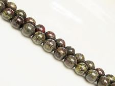 Picture of 8x8 mm, round, gemstone beads, Bloodstone, natural
