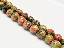 Picture of 8x8 mm, round, gemstone beads, unakite, natural, faceted