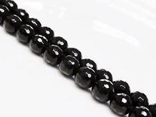 Picture of 8x8 mm, round, gemstone beads, Blackstone, faceted