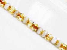 Image de 5x7 mm, perles à facettes tchèques rondelles, blanc craie et cristal, travertin jaune pâle